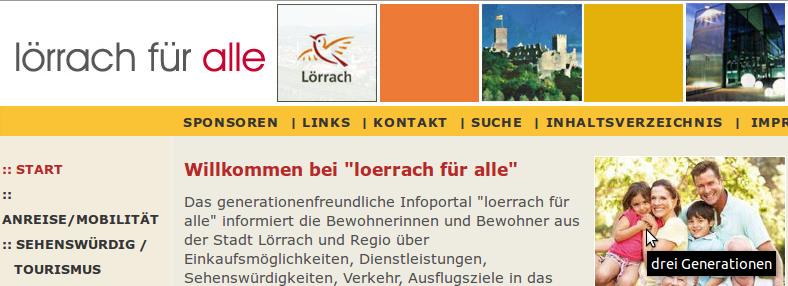 Bildschirm-Foto von www.loerrach-fuer-alle.de