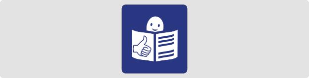 Logo leichte Sprache. Zeitungslesende gezeichnete Figur, die lächelt