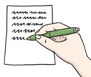 eine Hand mit Stift schreibt auf einem Blatt Papier
