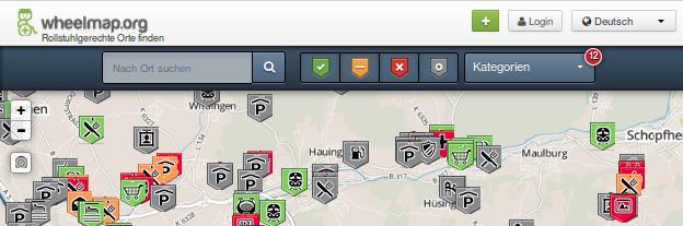 Bildschirm-Foto von Wheelmap.org